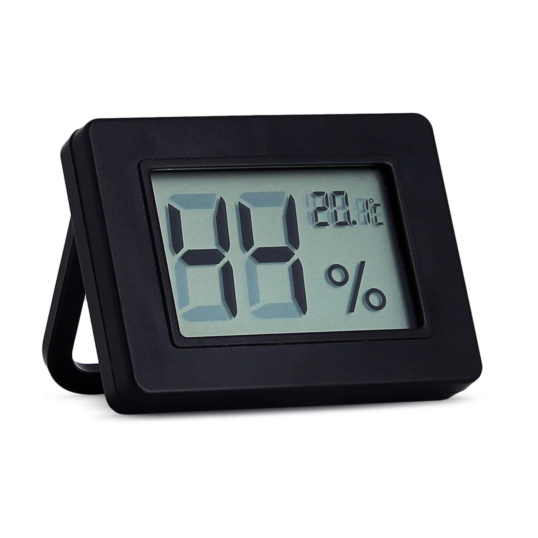 Photo de Thermo hygromètre digital noir avec support