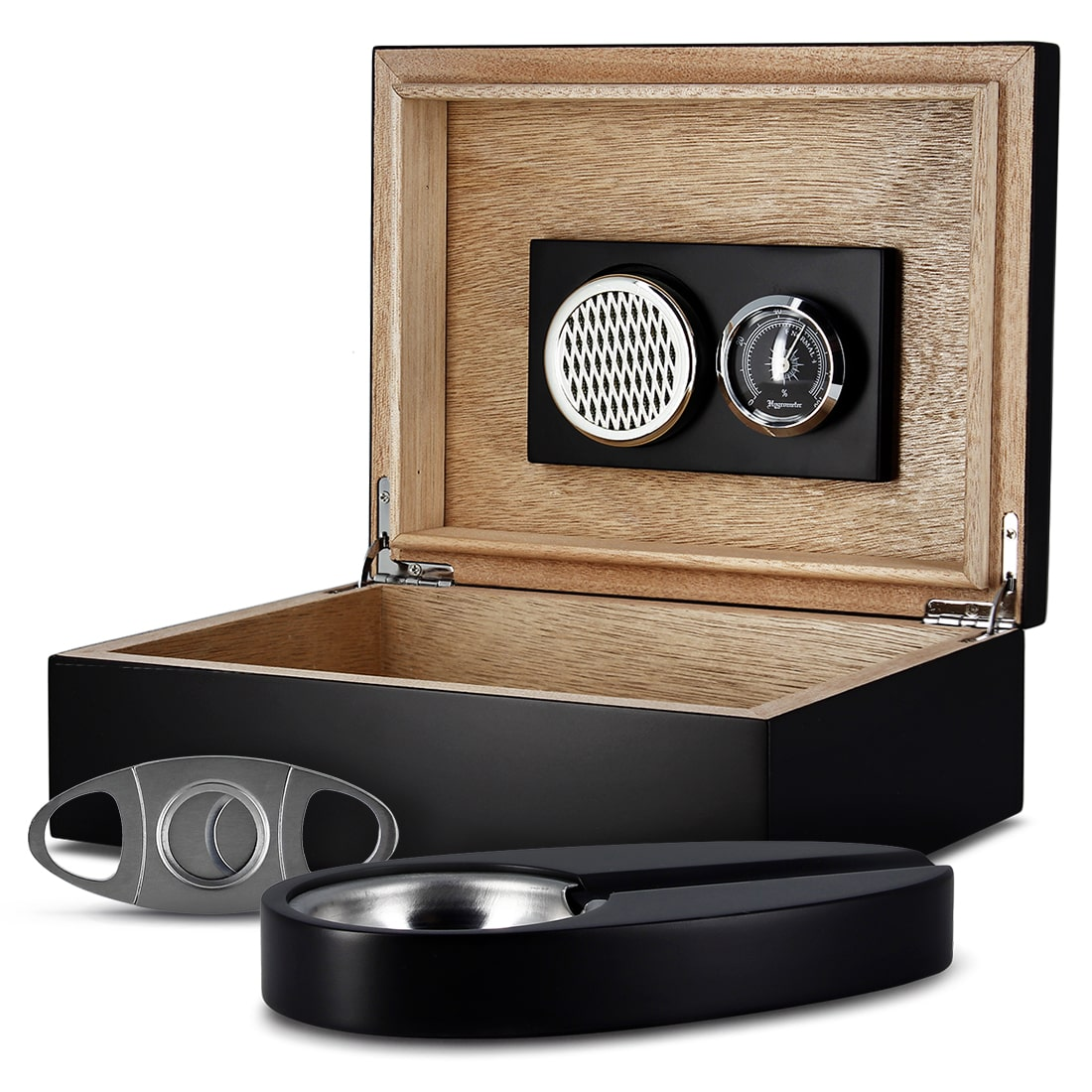 Photo de Cave à cigares laquée noire humidor set pm 17037