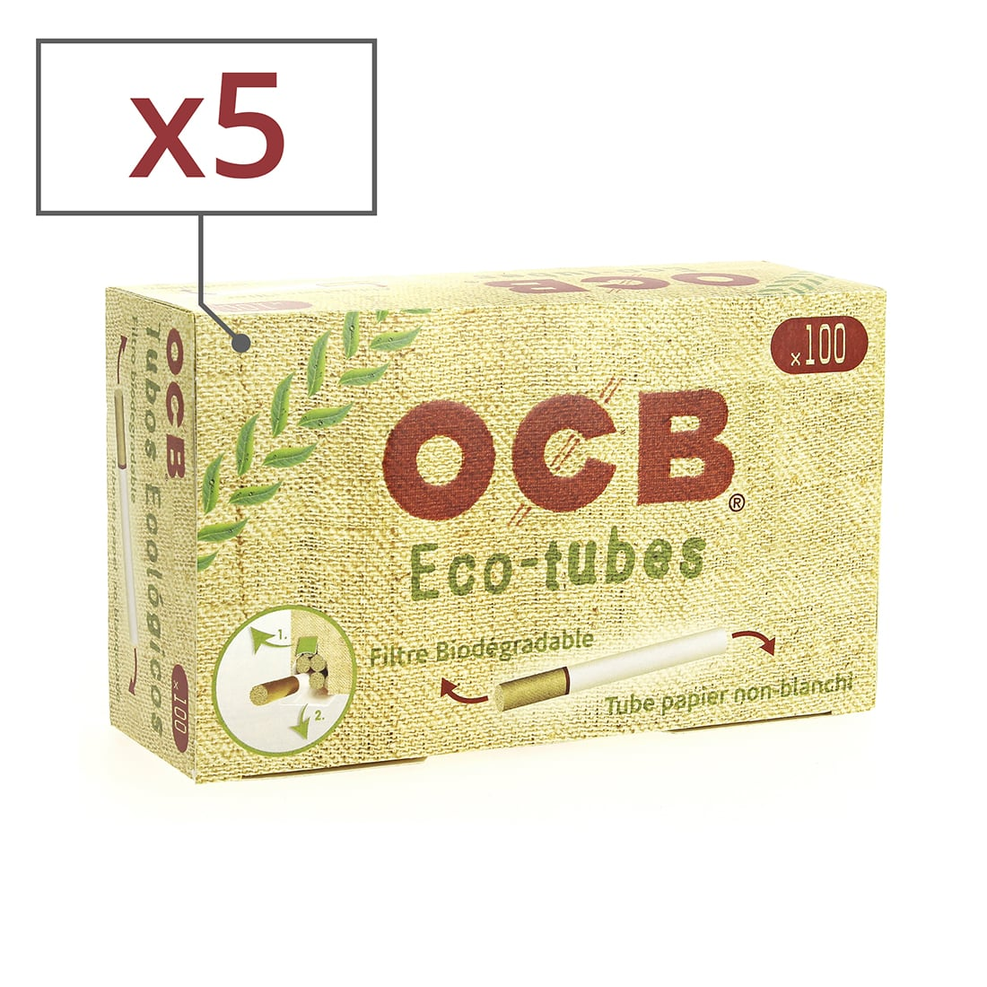 Photo de Boite de 100 tubes OCB Chanvre Bio avec filtre x5