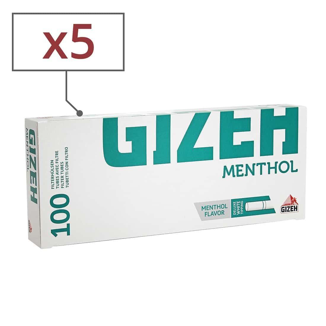 Photo de Boite de 100 tubes Gizeh Silver Tip Menthol avec filtre x 5