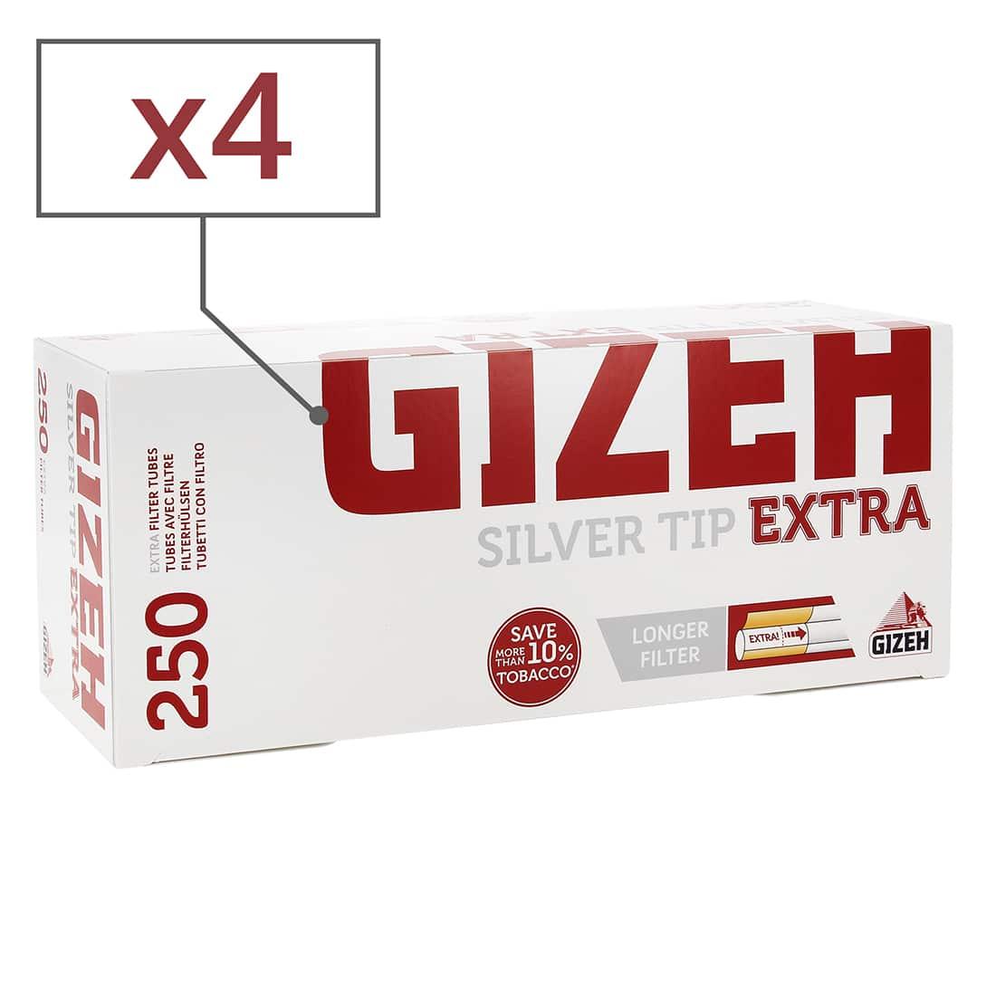 Photo de Boite de 250 tubes Gizeh Silver Tip Extra x 4