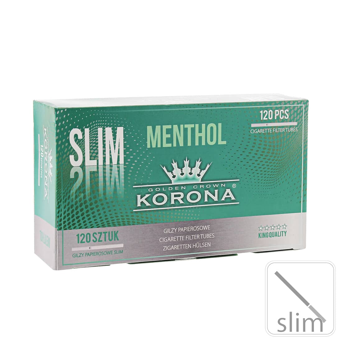 Photo de Boite de 120 tubes Korona Slim Menthol avec filtre