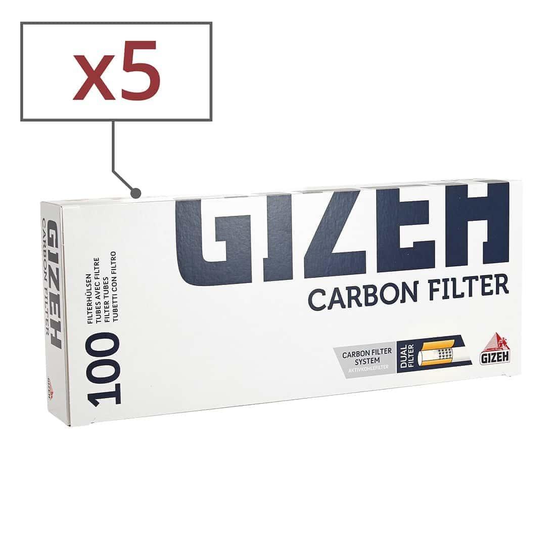 Photo de Boite de 100 tubes Gizeh Silver Tip Charbon avec filtre x 5