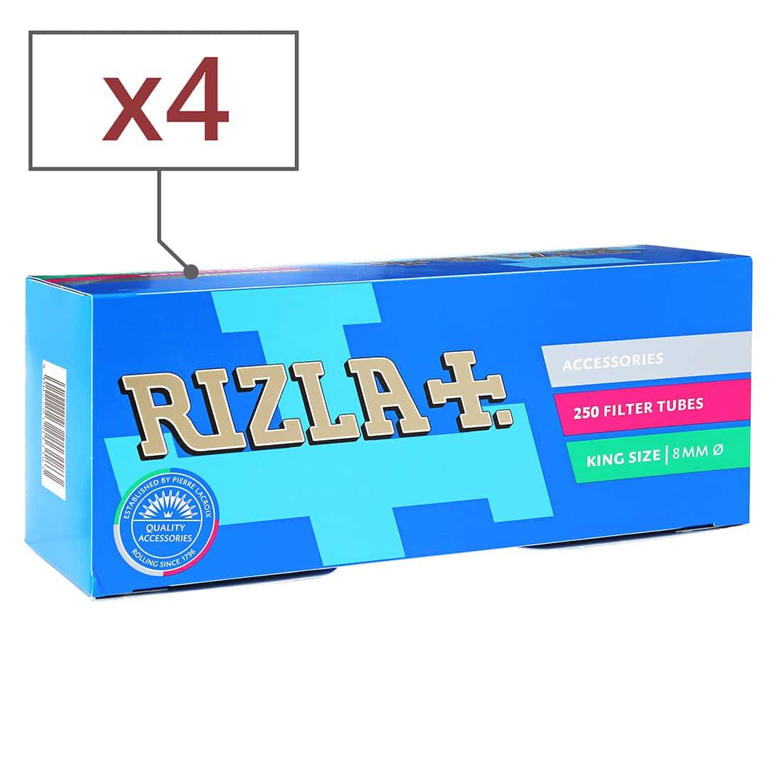 Photo de Boite de 250 tubes Rizla + avec filtre x4