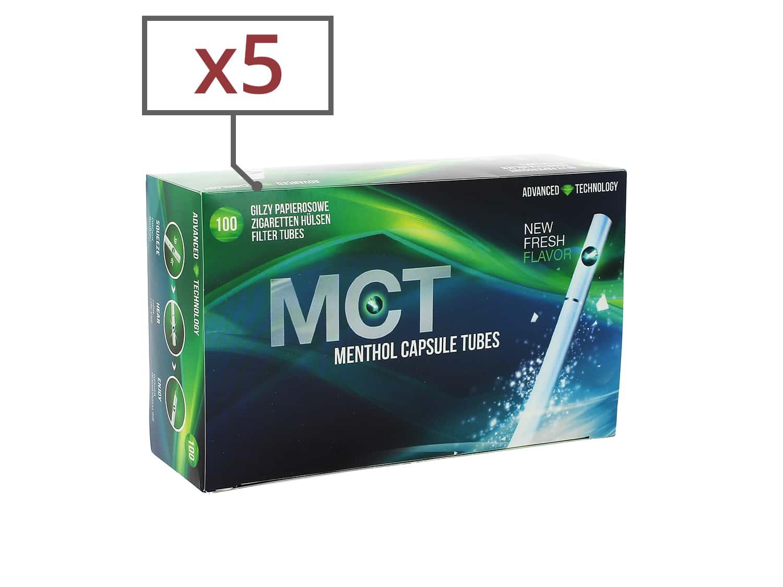 Photo de Boite de 100 tubes Menthol MCT avec filtre x 5