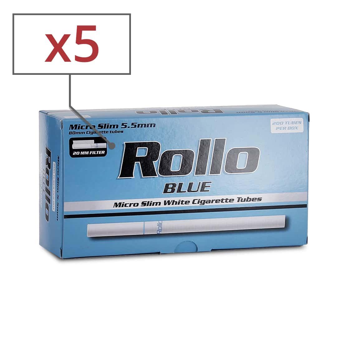 Photo de Boite de 200 tubes Rollo Blue Micro Slim x 5