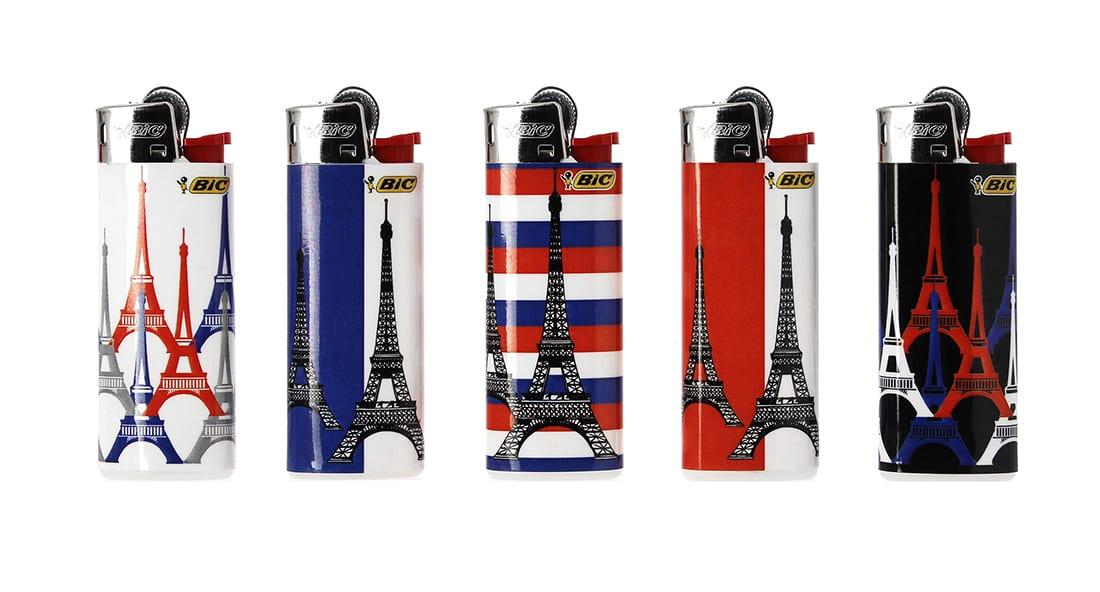 Photo de 5 briquets Bic mini à pierre Tour Eiffel tricolore