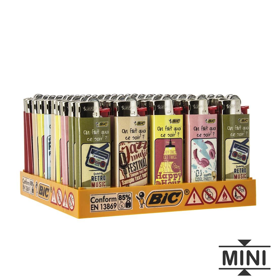 Photo de 50 briquets Bic mini à pierre Retro Music