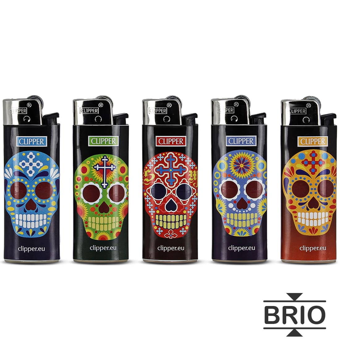 Photo de Briquet Clipper Brio Micro Tête de Mort Calaveras x 5