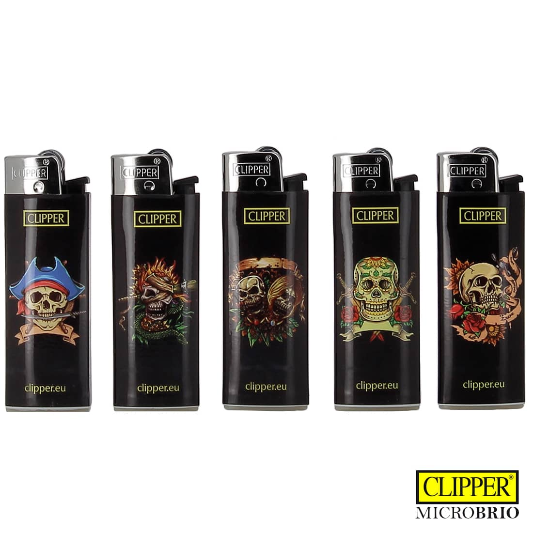 Photo de Briquet Clipper Brio Micro Tête de mort x 5