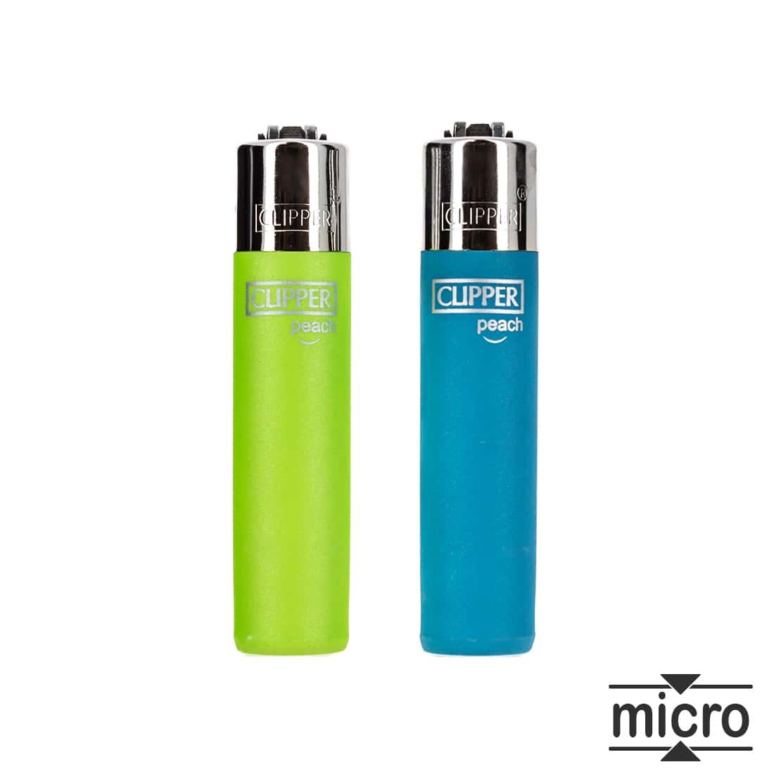 Photo de 2 briquets à pierre Micro Clipper Peach Bleu et Vert