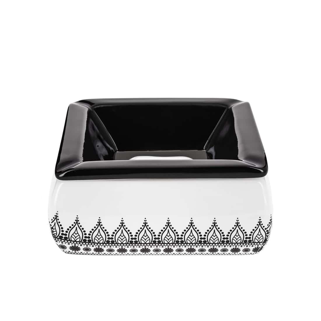 Photo de Cendrier Marocain Arabesques Noir et Blanc modèle 3