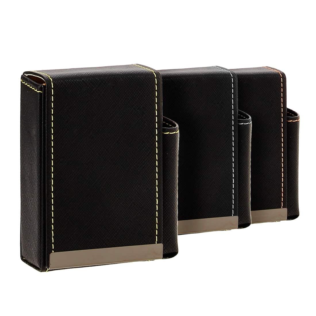 Photo de Etui paquet cigarette et briquet simili cuir couture bicolore