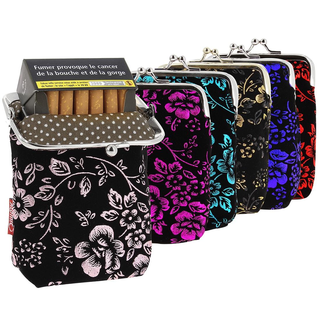 Photo de Etui paquet cigarette porte-monnaie fleurs