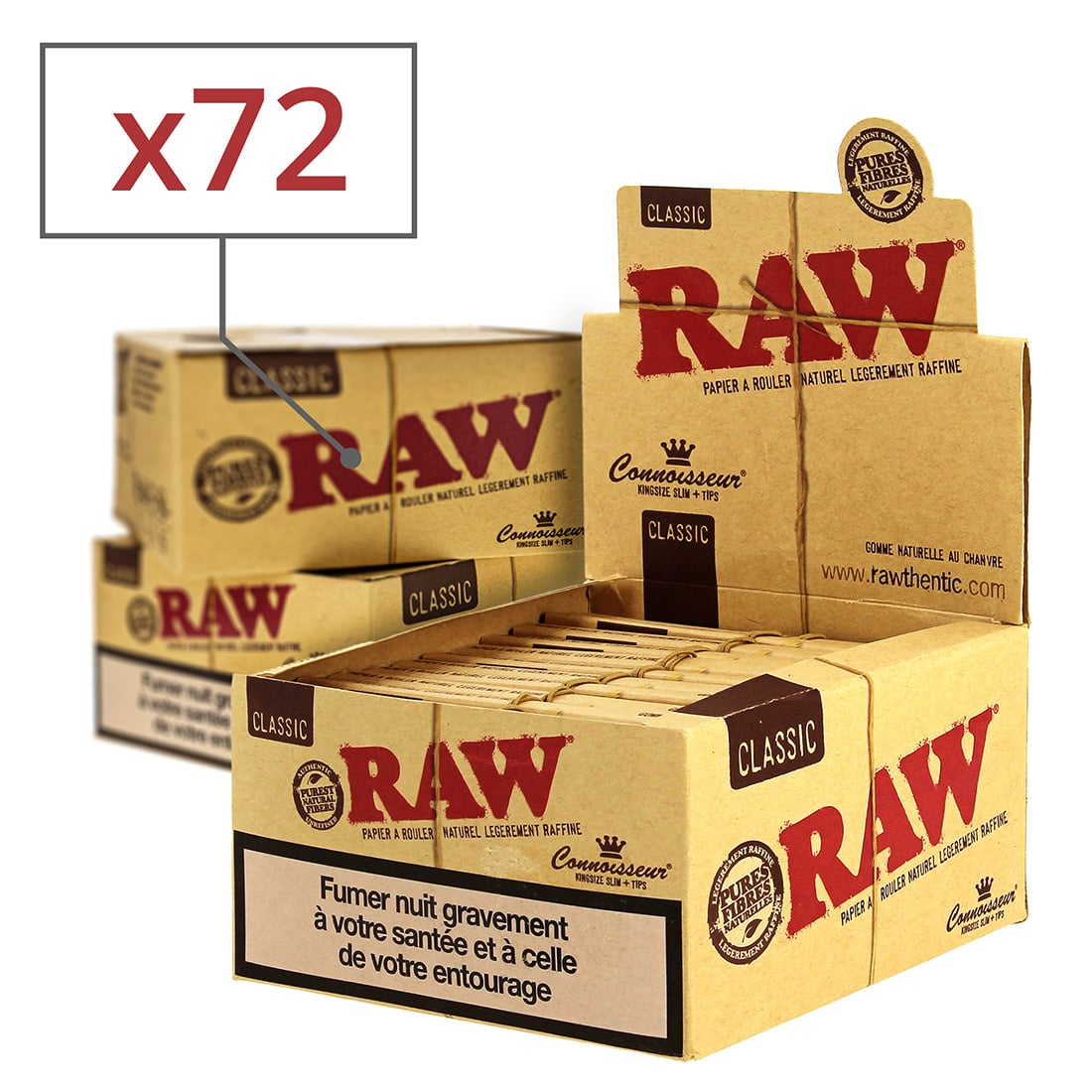 Photo de Papier à rouler Raw Slim + Tips x 24 PACK de 3
