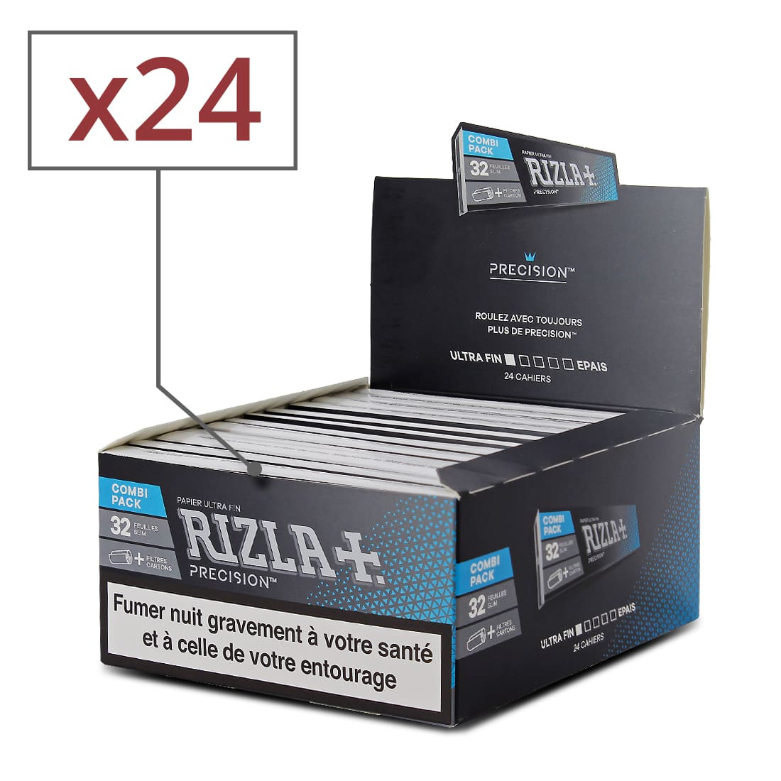 Photo de Papier à rouler Rizla + Precision Slim et Tips x 24