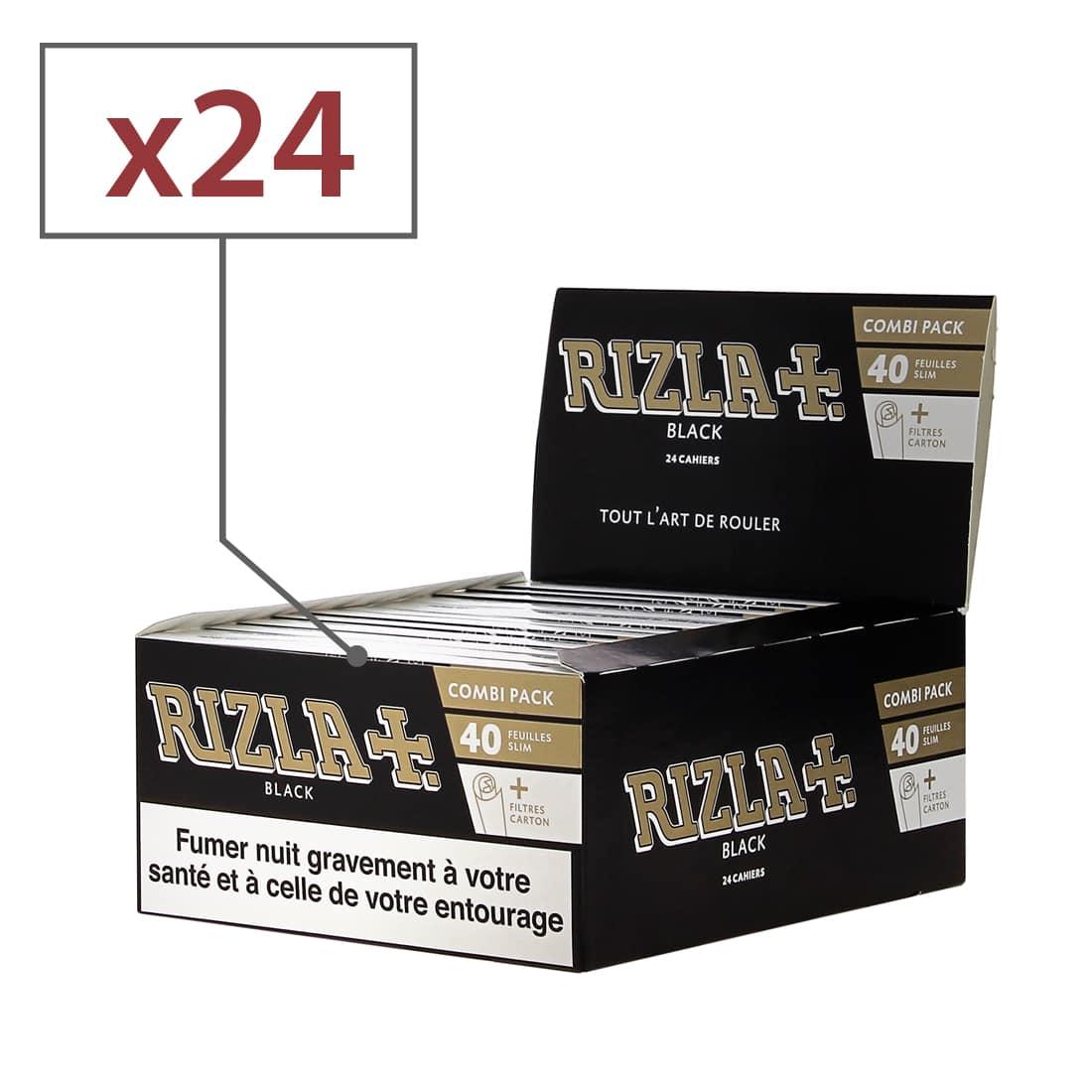 Photo de Papier à rouler Rizla + Black Slim et Tips x24