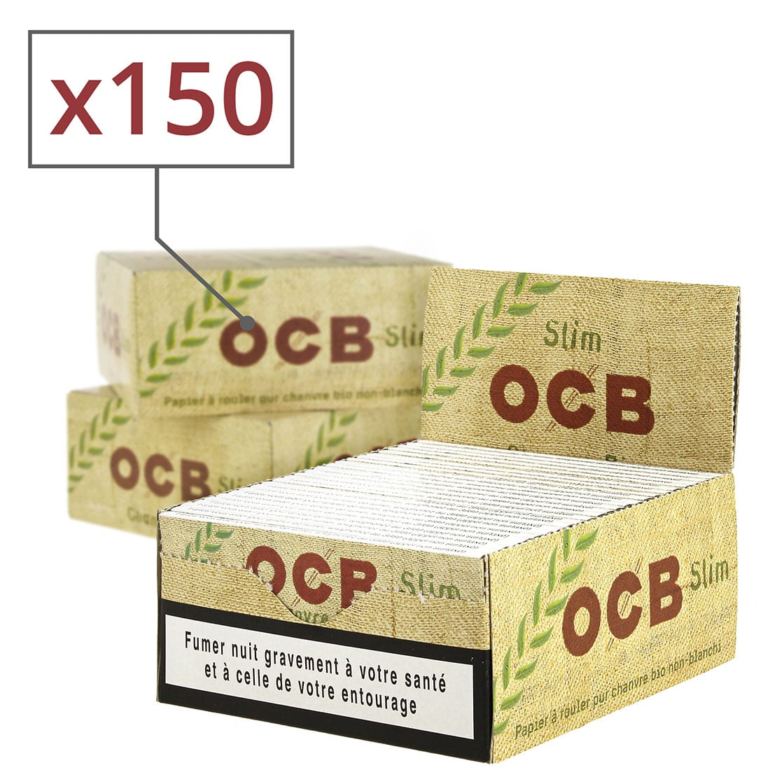 Photo de Papier à rouler OCB Slim Chanvre Bio x 50 PACK de 3