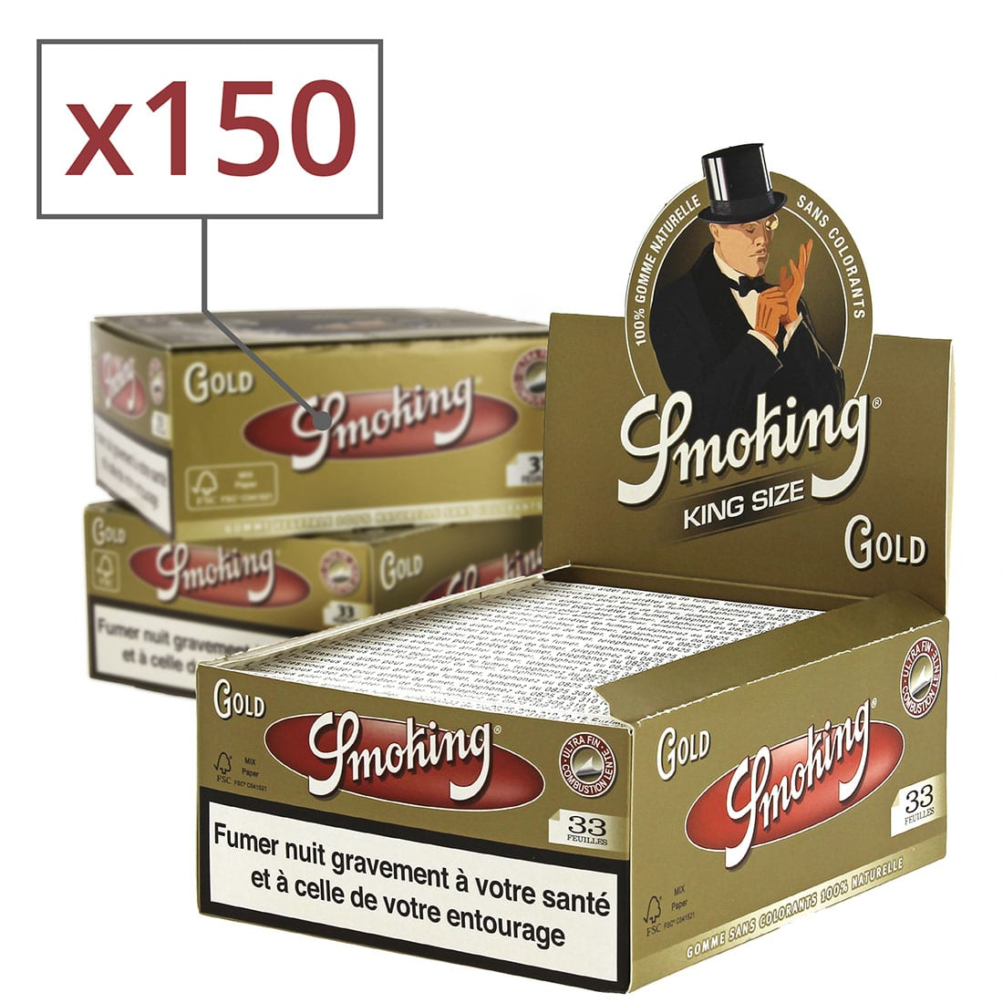 Photo de Papier à rouler Smoking Slim doré x50 PACK de 3