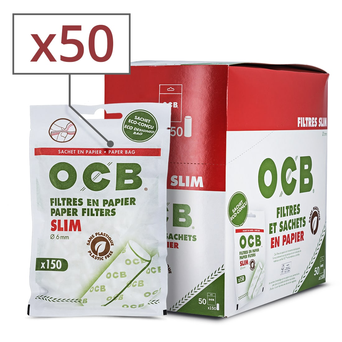 Photo de Filtres OCB en Papier Slim x 50 sachets