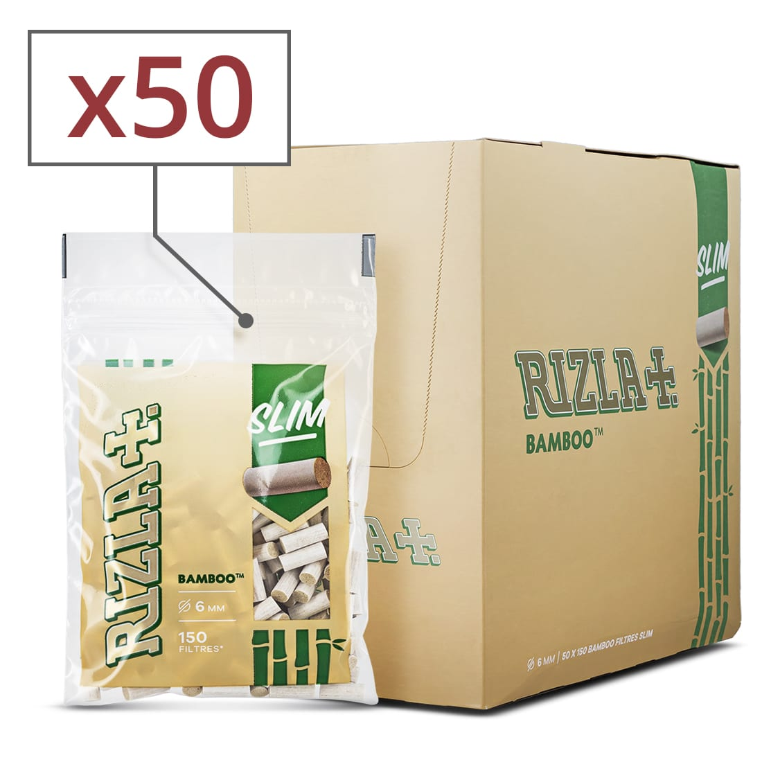 Photo de Filtres Rizla + Slim Bamboo x 50 sachets