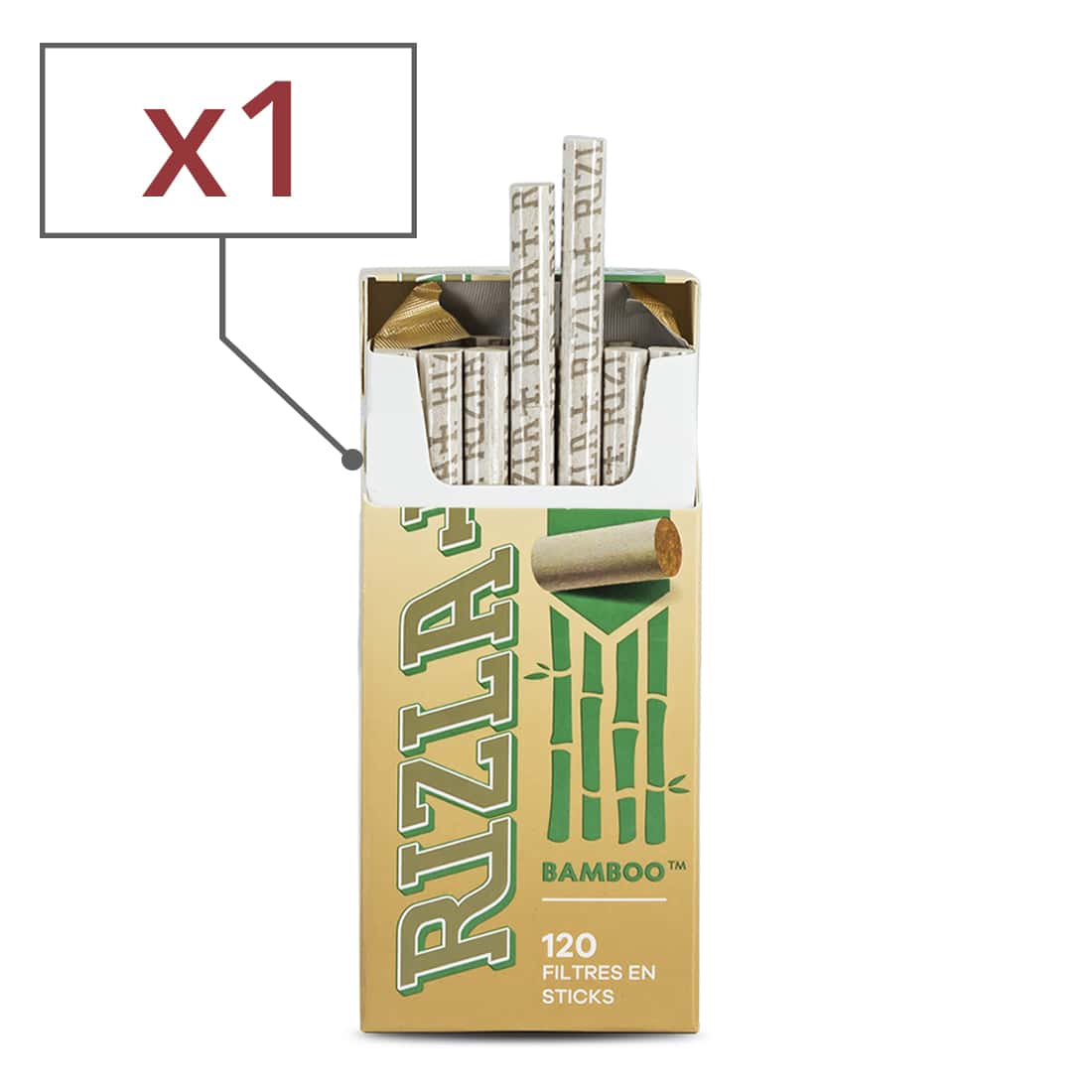 Photo de Filtres Rizla + Ultra Slim en sticks Bamboo x 1 Boite