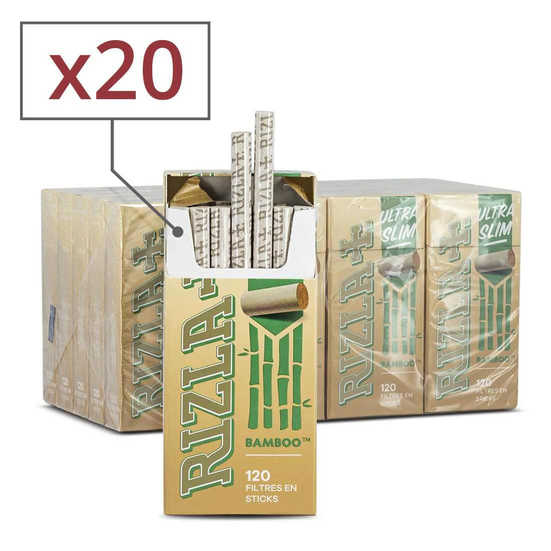 Photo de Filtres Rizla + Ultra Slim en sticks Bamboo x 20 Boites