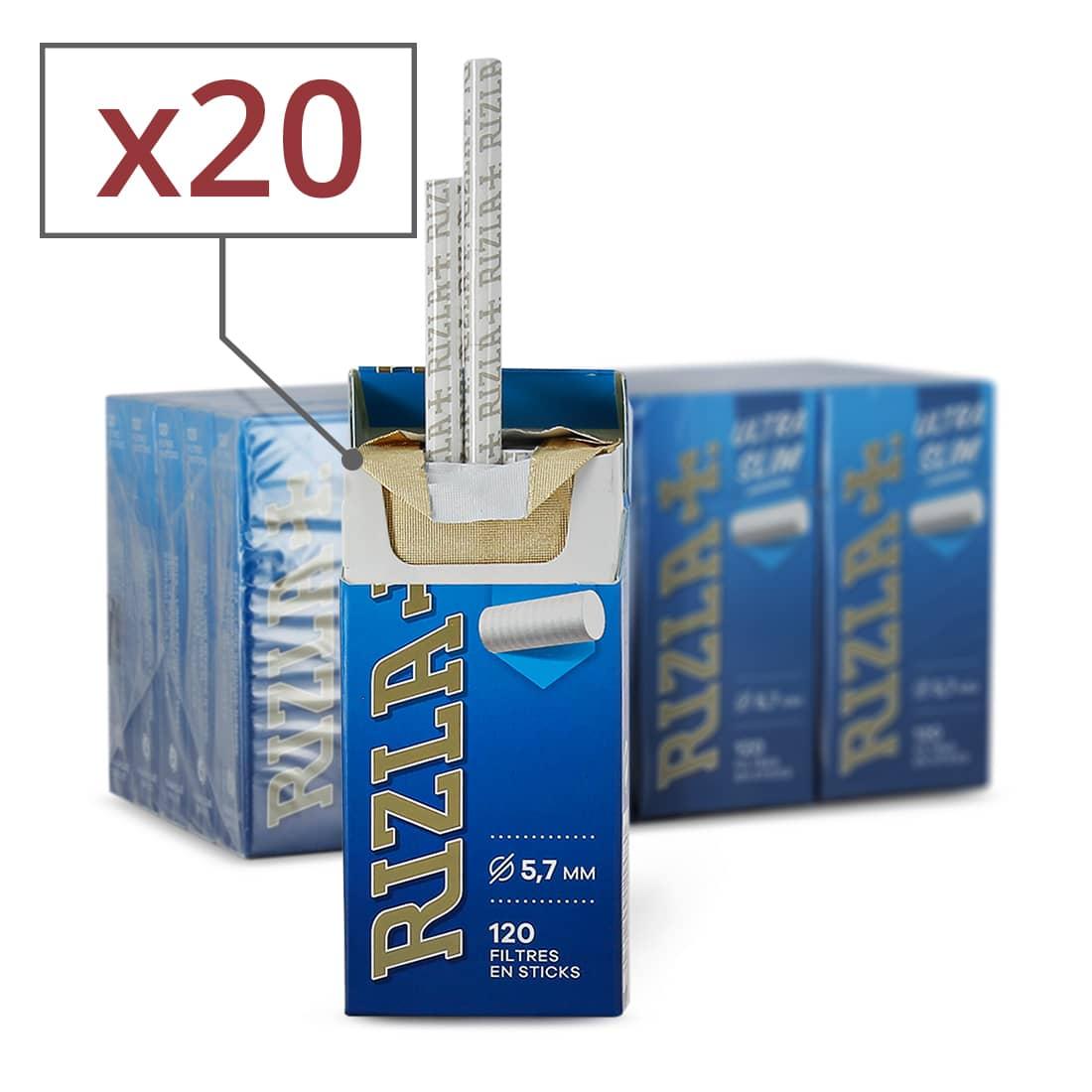 Photo de Filtres Rizla + ultra slim en sticks x20 boites