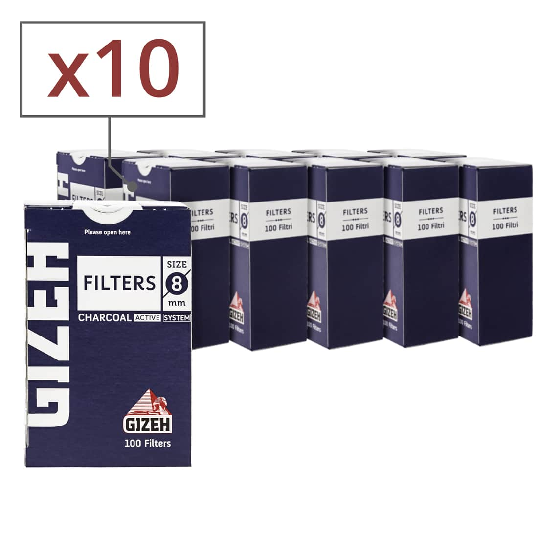 Photo de Filtres Charbon Gizeh 8 mm x 10 boites