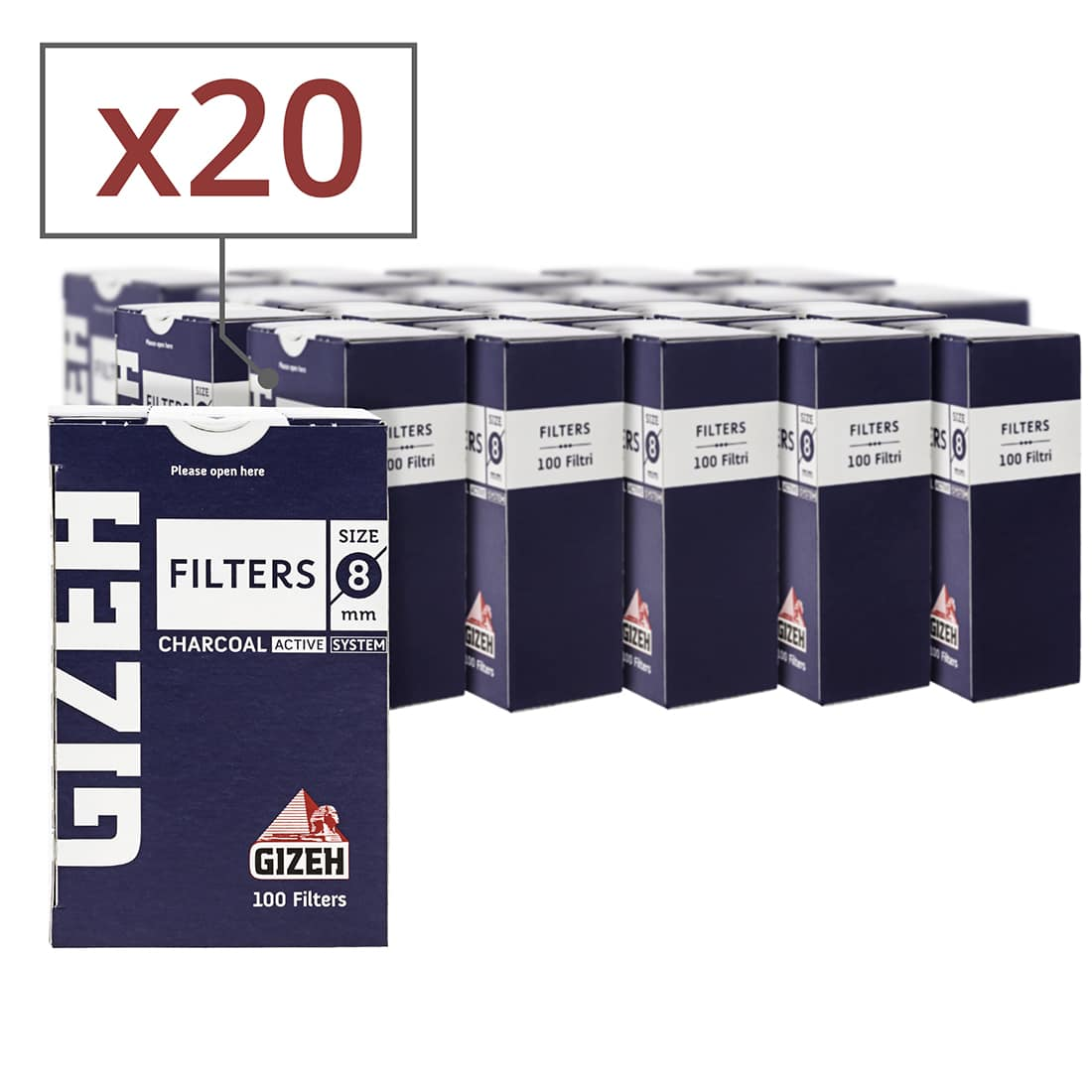 Photo de Filtres Charbon Gizeh 8 mm x 20 boites