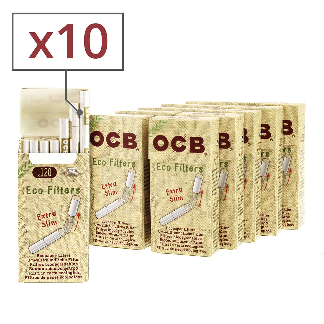 Photo de Filtres OCB Chanvre Bio Extra Slim en stick x10