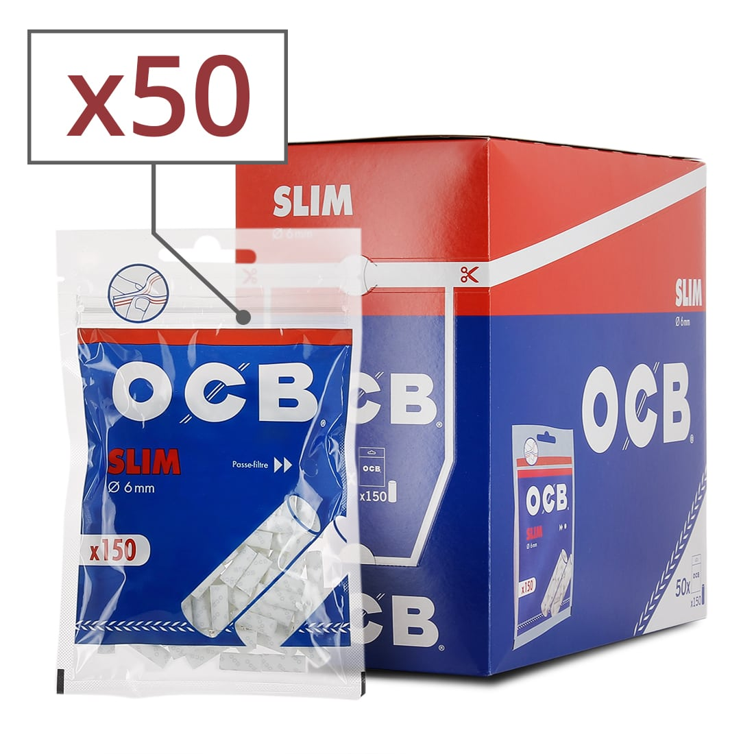 Filtres OCB slim boite de 50 sachets de 150 Filtres SLIM 6 MM