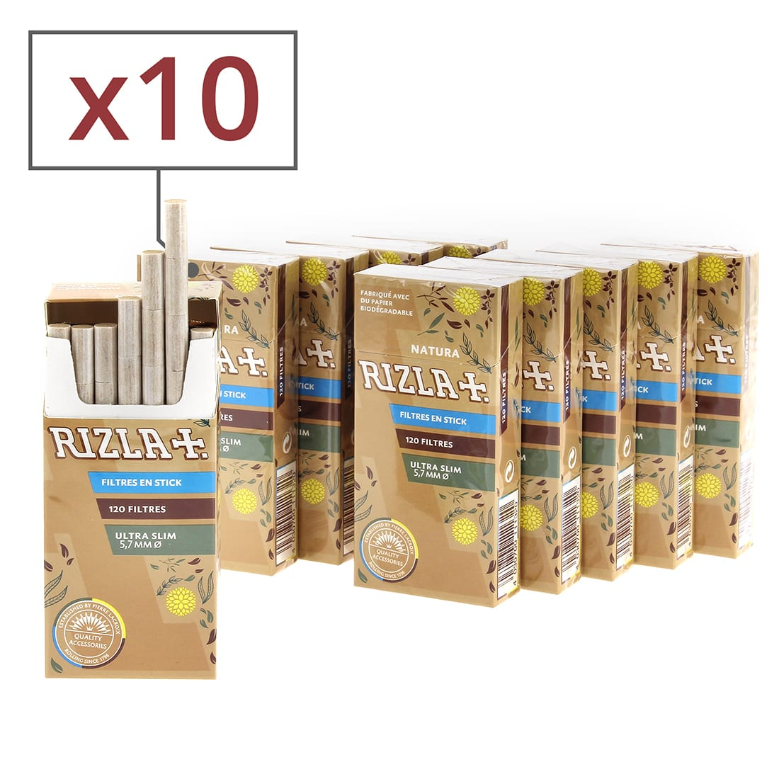 Photo de Filtres Rizla+ Natura ultra slim en sticks x10