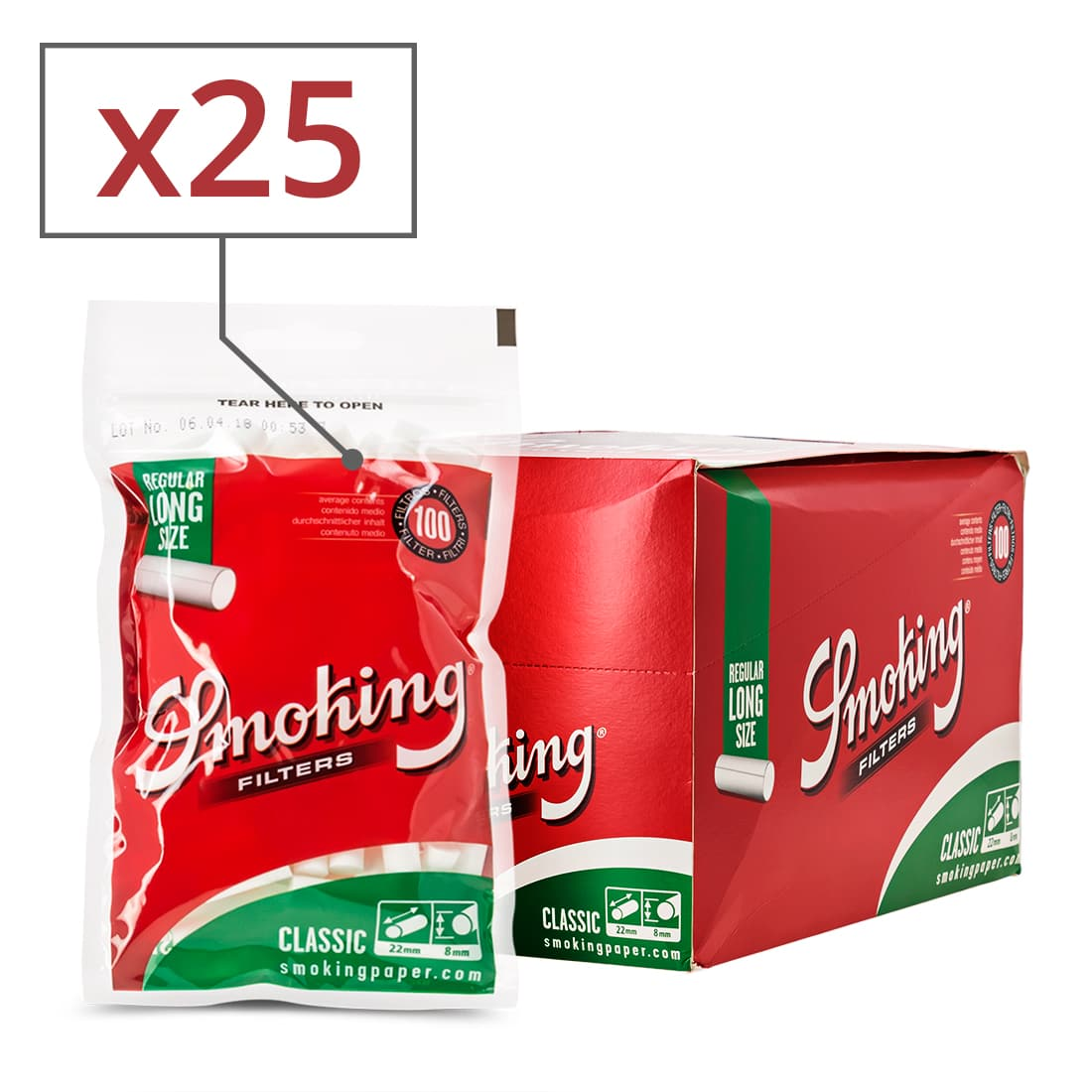 Photo de Filtres Smoking Classic Régular Long x 25 sachets