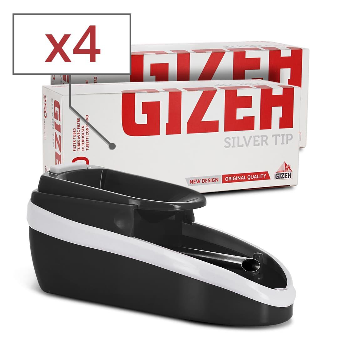 Photo de Pack Mini machine à tuber électrique noire et tubes Gizeh