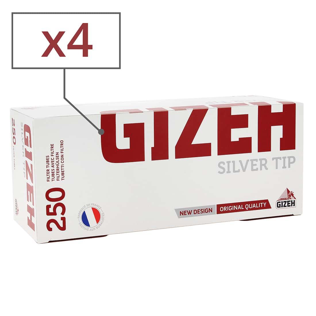 Photo de Boite de 250 tubes Gizeh Silver Tips avec filtre x4