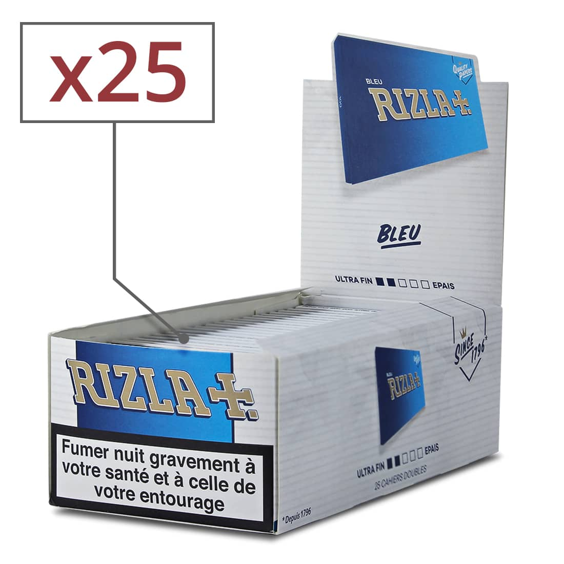 Photo de Papier à rouler Rizla bleu x25