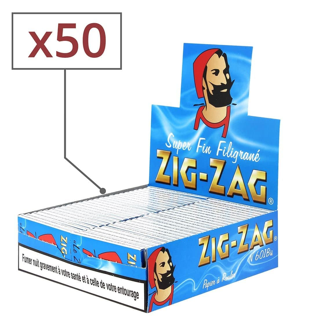Photo de Papier à rouler Zig Zag Bleu x50