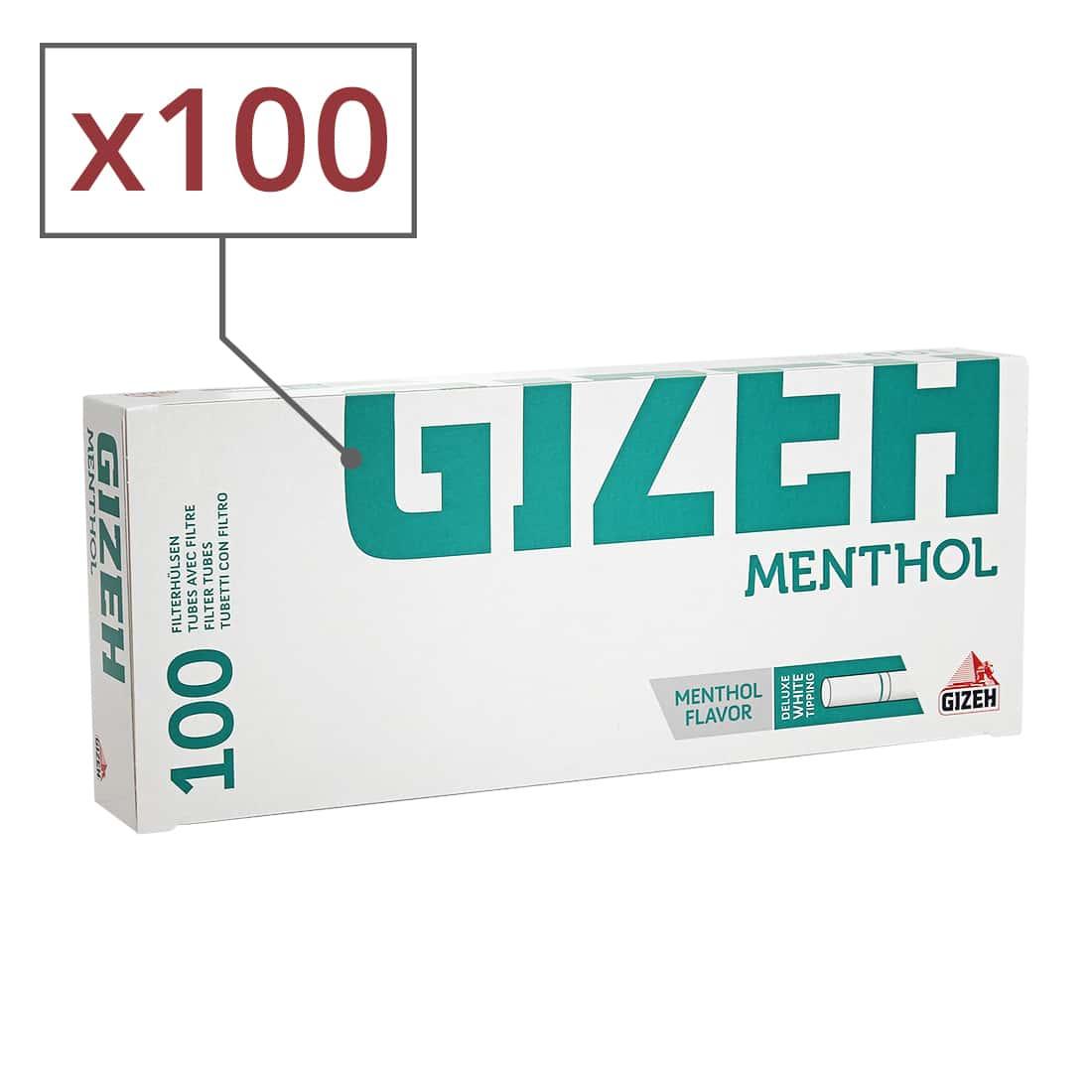 Photo de Boite de 100 tubes Gizeh Silver Tip Menthol avec filtre x 100