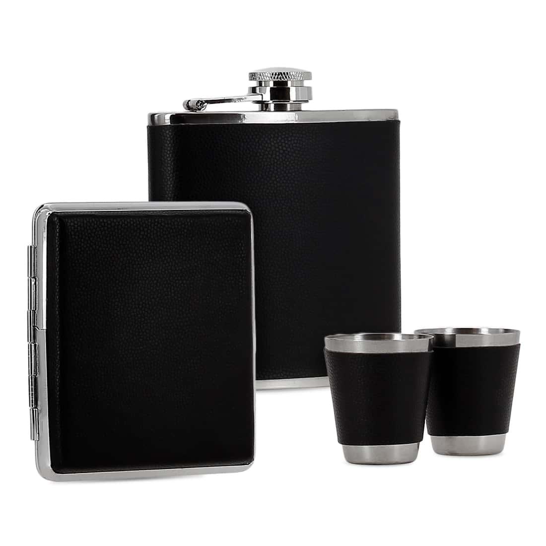 Photo de Coffret Flasque Alcool Etui Cigarette Simili Cuir Noir