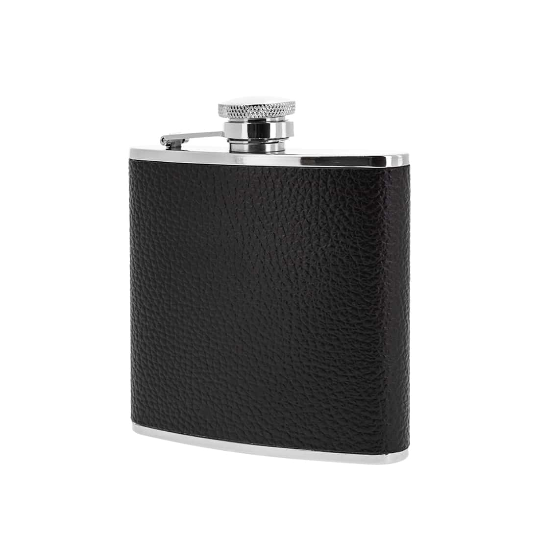 Photo de Flasque Alcool Inox Cuir Grainé Noir