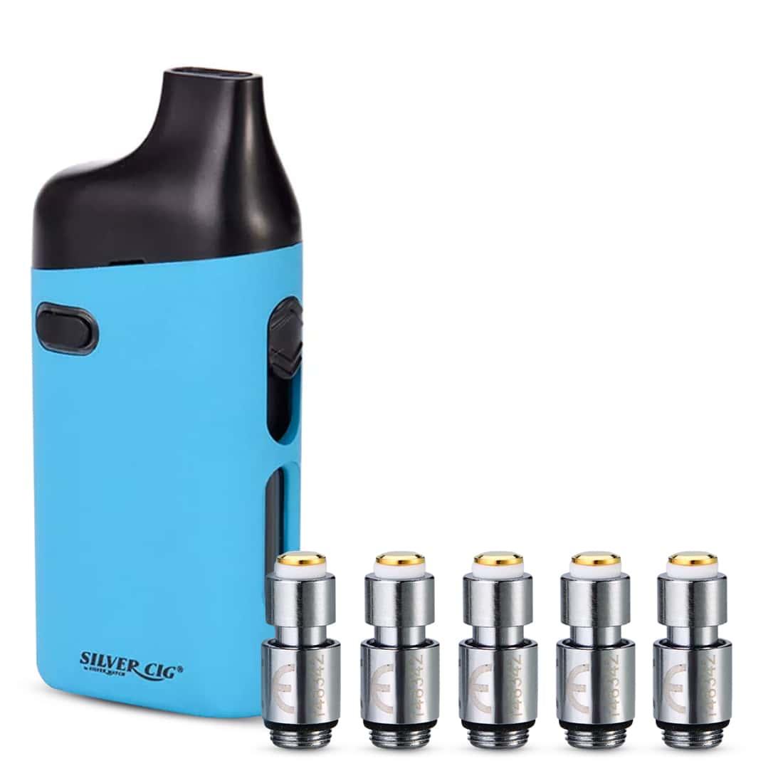 Photo de Pack cigarette-electronique SilverCig E-Palm Bleu et 5 x Résistances