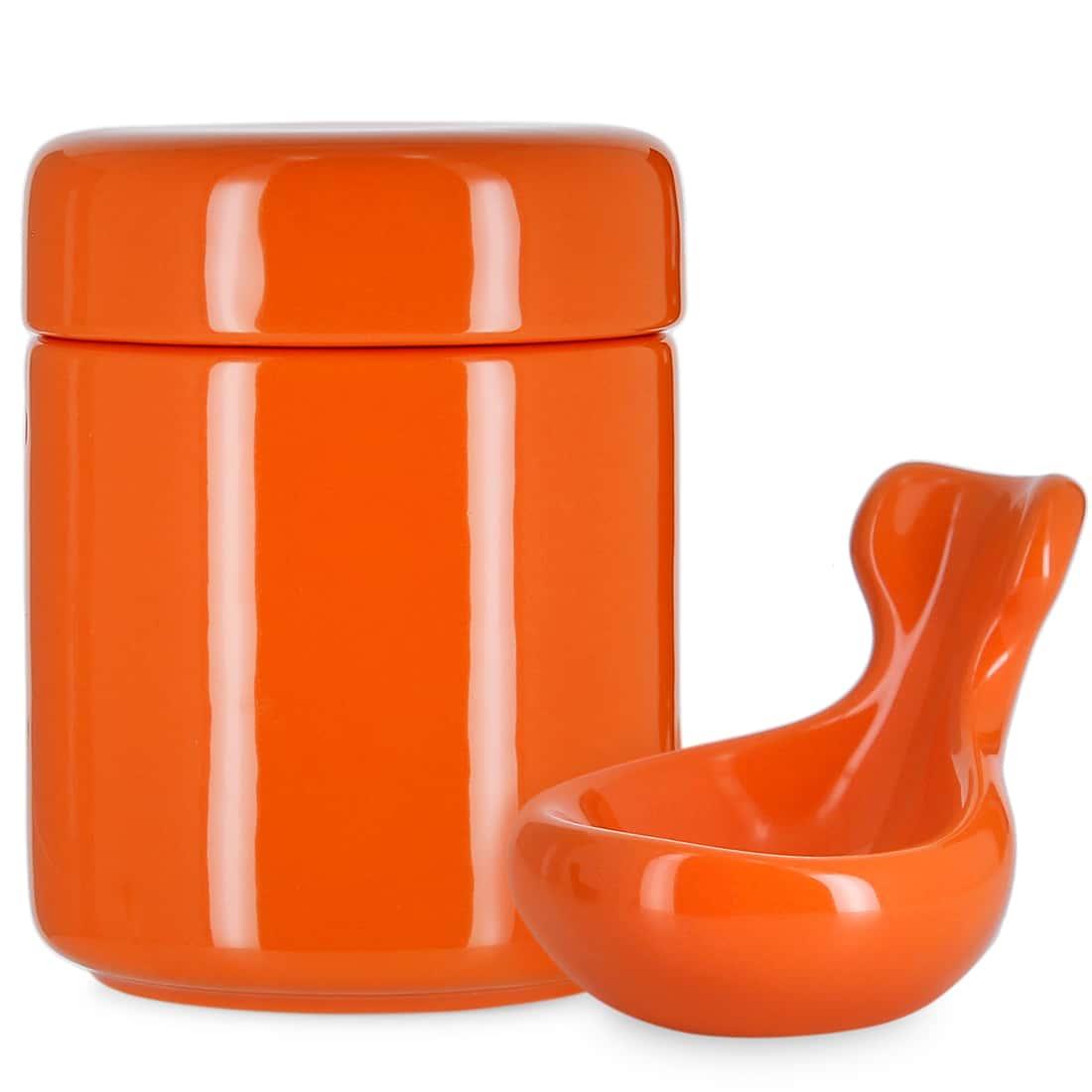 Photo de Pot à tabac et Porte Pipe Céramique Orange
