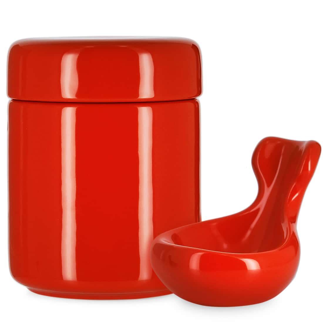 Photo de Pot à tabac et Porte Pipe Céramique Rouge