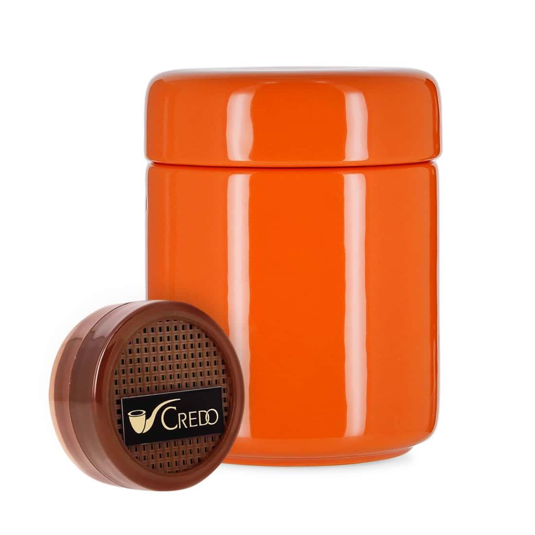 Photo de Pot à tabac Céramique Orange et Humidificateur Crédo