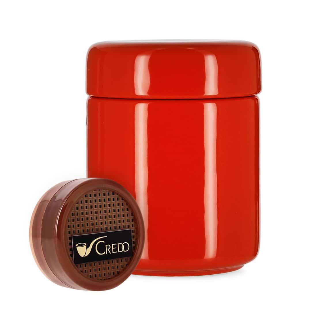 Photo de Pot à tabac Céramique Rouge et Humidificateur Crédo