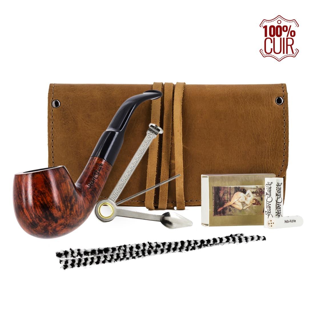 Photo de Pipe courbée Blague a tabac cuir et accessoires