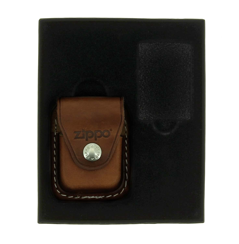 Photo de Boite cadeau Zippo avec étui marron à clip