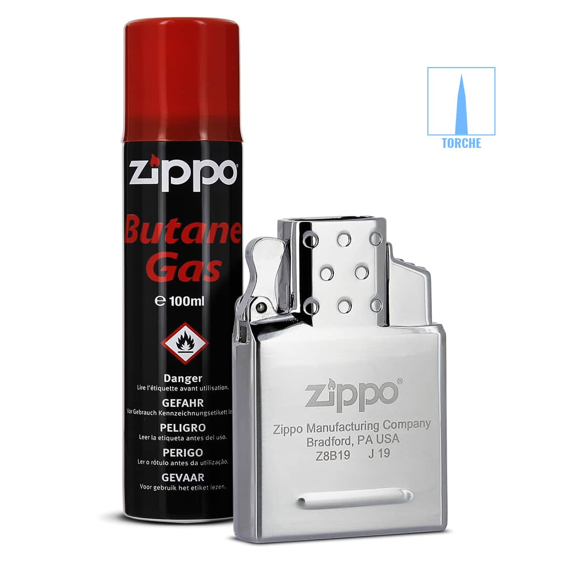 Photo de Pack Zippo Insert Simple Flamme Torche et Gaz Butane