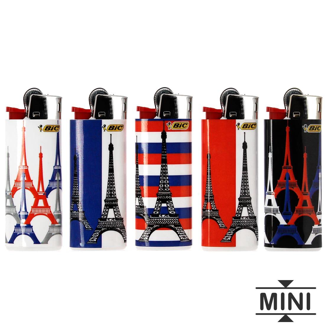 Photo #1 de 50 briquets Bic mini à pierre Tour Eiffel tricolore